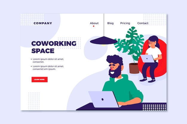 Página de destino de coworking desenhada à mão plana