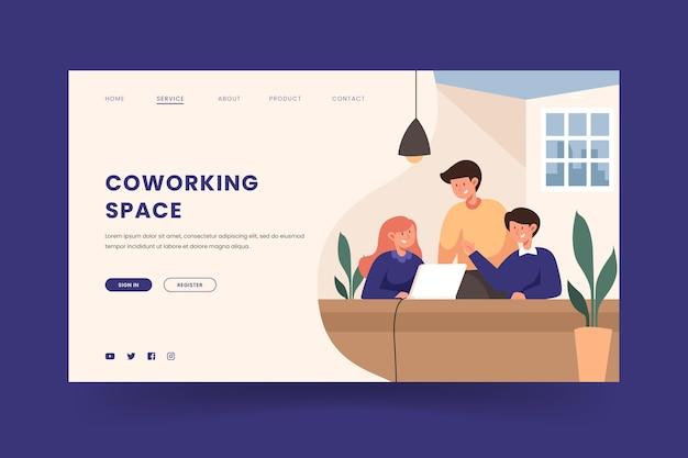 Página de destino de coworking desenhada à mão