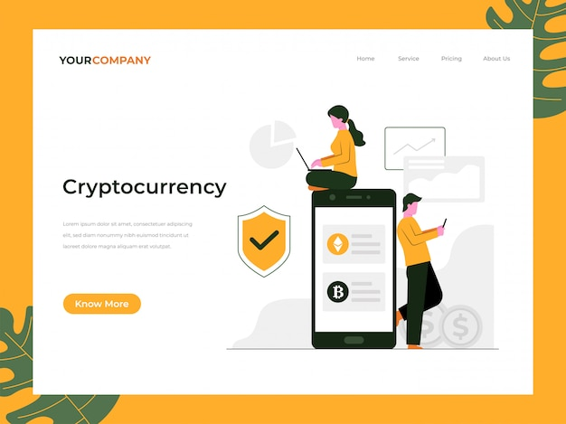 Página de destino de criptomoeda