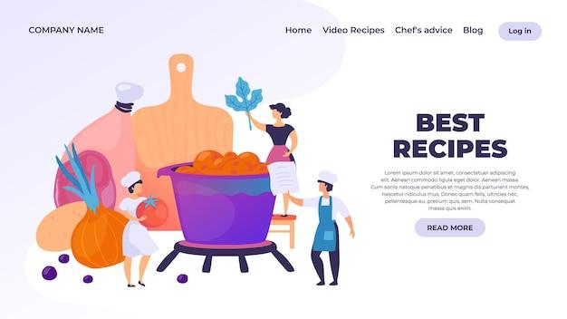 Página de destino de culinária. personagem de desenho animado chef profissional preparando o jantar, culinária de restaurante