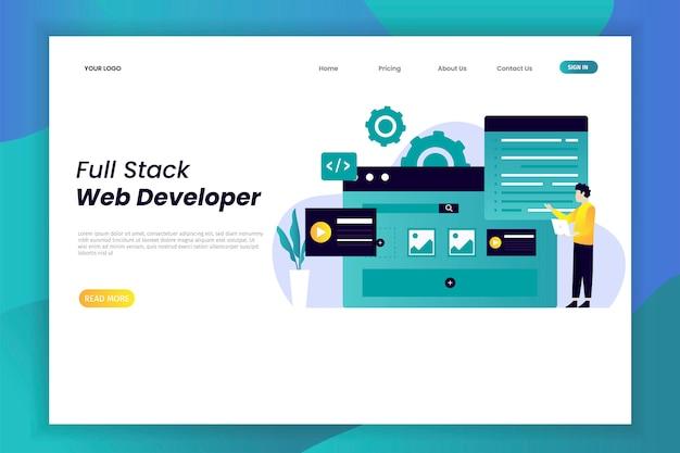 Página de destino de desenvolvimento web plana moderna