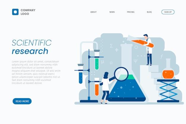 Página de destino de design plano de pesquisa científica