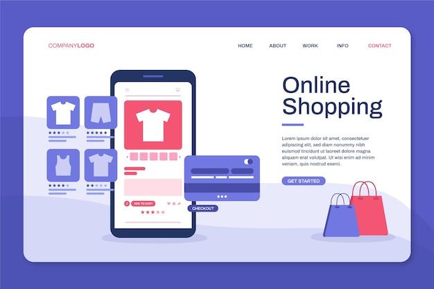 Página de destino de design plano de produtos on-line de compra