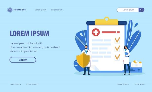 Página de destino de design plano de proteção de saúde humana