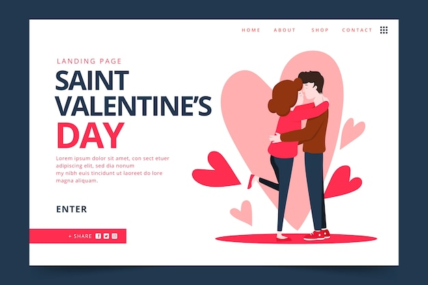 Página de destino de design plano para dia dos namorados