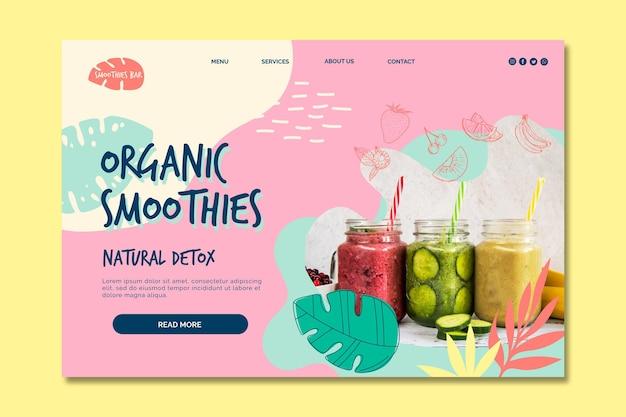 Página de destino de desintoxicação natural de smoothie orgânico