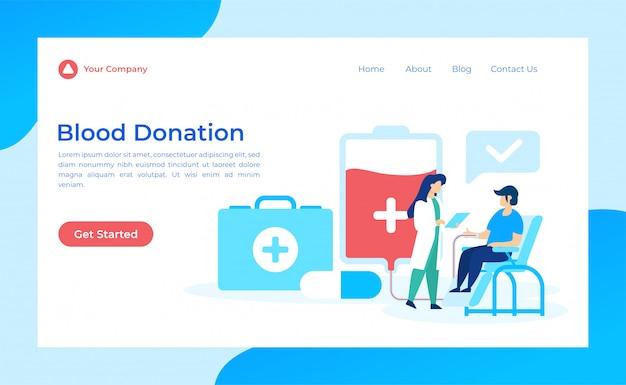 Página de destino de doação de sangue