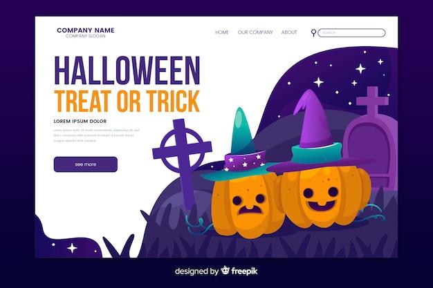 Página de destino de doces ou travessuras de halloween