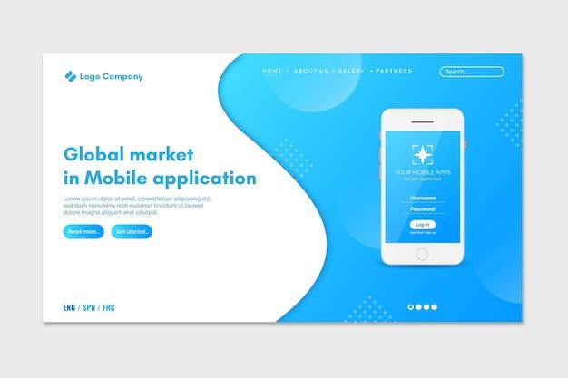 Página de destino de duas cores com smartphones