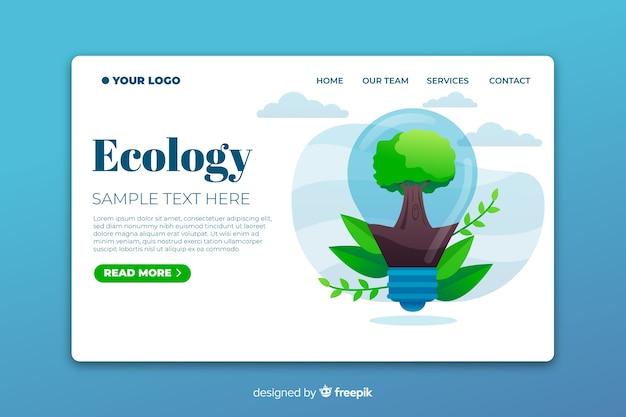 Página de destino de ecologia com árvore em uma lâmpada