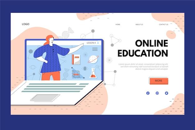 Página de destino de educação e laptop on-line