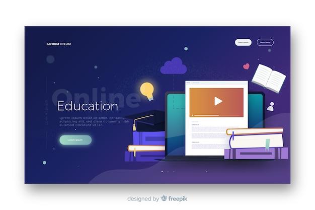Página de destino de educação on-line