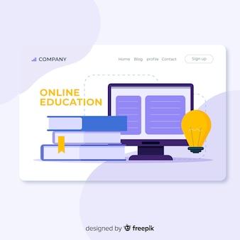 Página de destino de educação online plana
