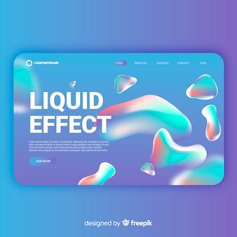 Página de destino de efeito líquido gradiente