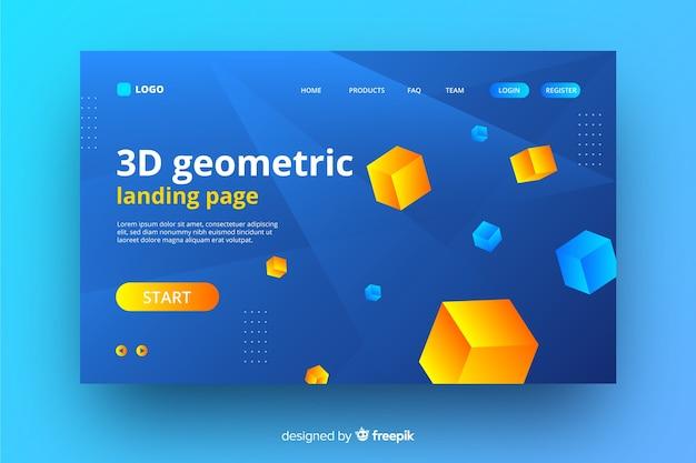 Página de destino de elementos geométricos 3d