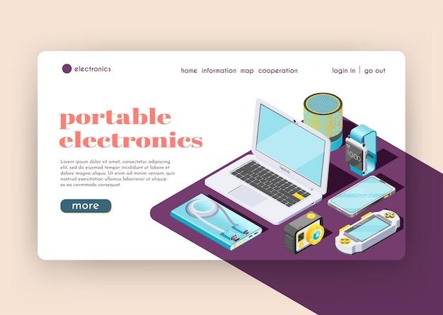 Página de destino de eletrônicos portáteis que representa dispositivos inteligentes