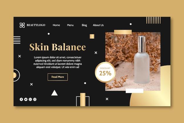Página de destino de equilíbrio de pele