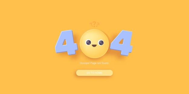 Página de destino de erro 404 com rosto com sorriso triste