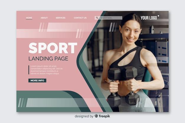 Página de destino de esporte colorido com foto e formas desbotadas