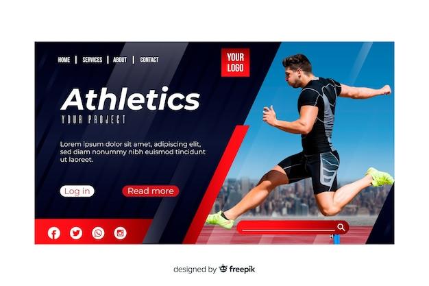 Página de destino de esporte de atletismo com foto