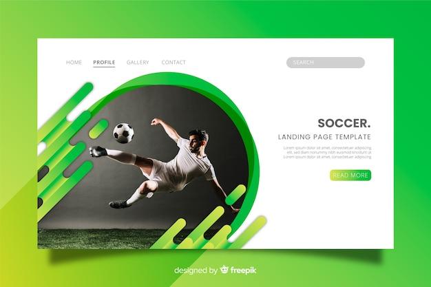 Página de destino de esporte de futebol com foto