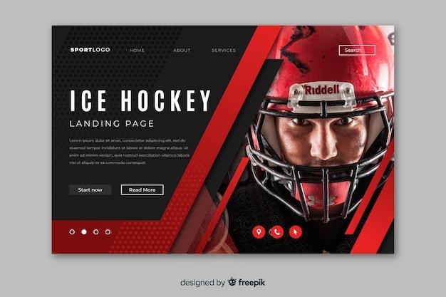 Página de destino de esporte de hóquei no gelo com foto