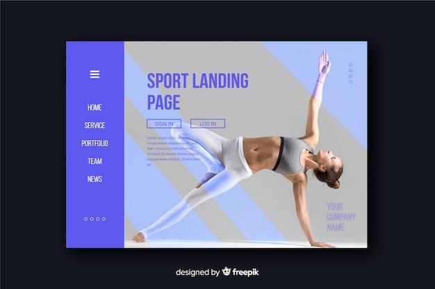 Página de destino de esporte minimalista com foto brilhante