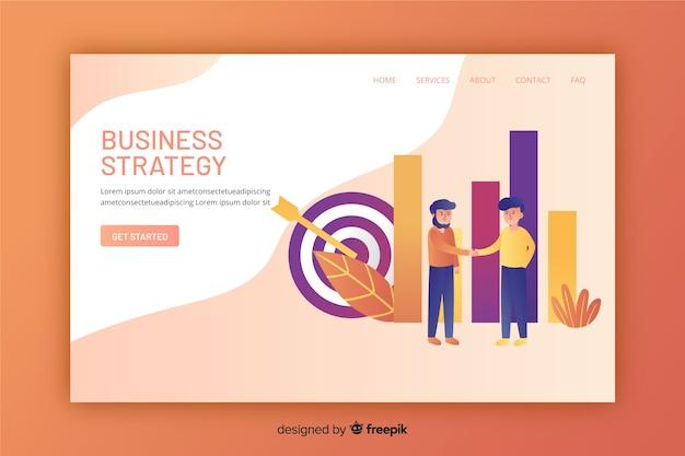 Página de destino de estratégia de negócios com design plano