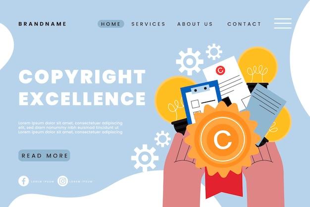 Página de destino de excelência em direitos autorais