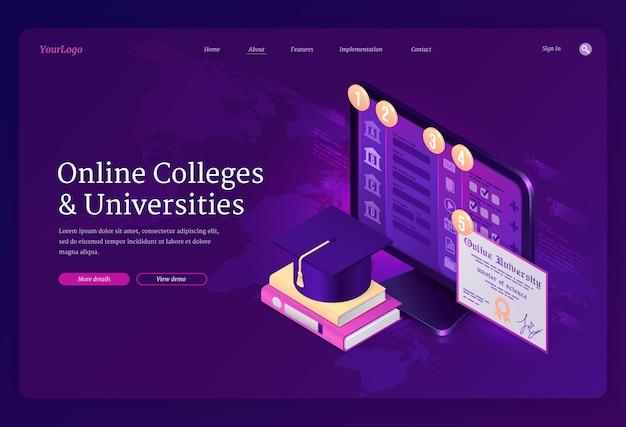 Página de destino de faculdades e universidades online