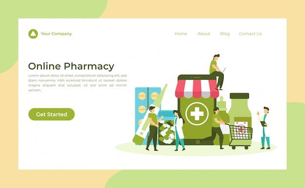 Página de destino de farmácia on-line