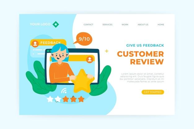 Página de destino de feedback plano orgânico