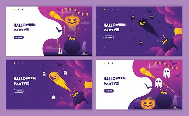 Página de destino de festa de halloween roxo com convite de abóbora