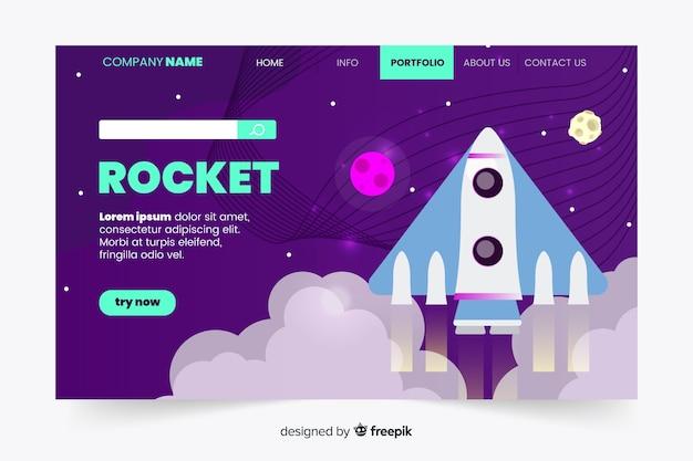 Página de destino de foguete plana