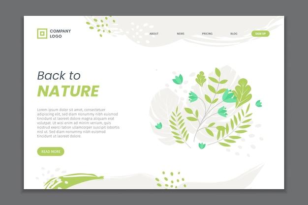 Página de destino de folhagem natural desenhada de mão