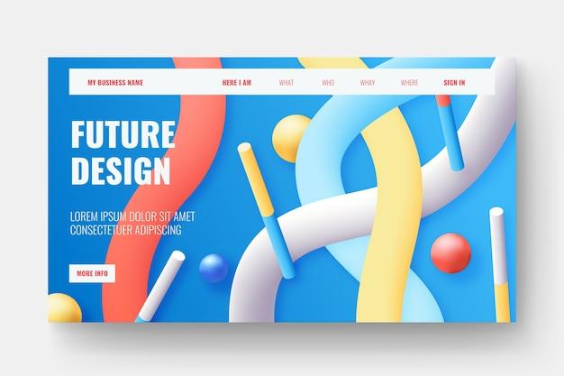 Página de destino de formas 3d coloridas