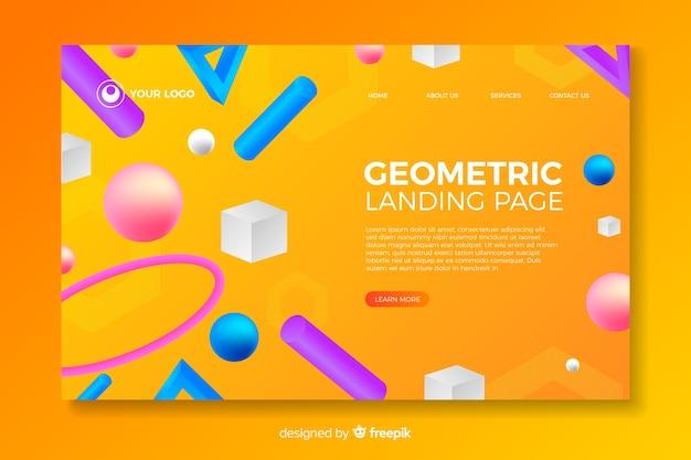 Página de destino de formas geométricas 3d