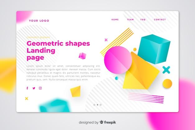 Página de destino de formas geométricas coloridas vibrantes