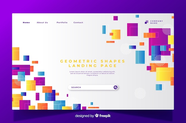 Página de destino de formas geométricas coloridas