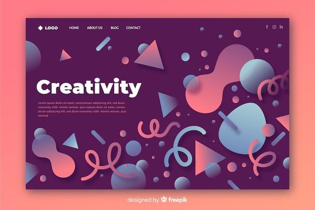 Página de destino de formas geométricas criativas
