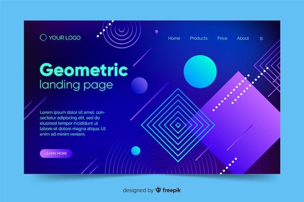 Página de destino de formas geométricas de gradiente