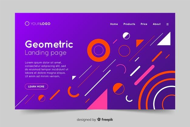 Página de destino de formas geométricas gradientes coloridos