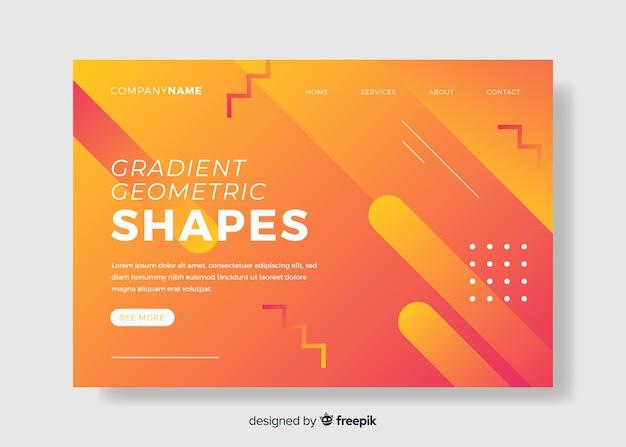Página de destino de formas geométricas gradientes