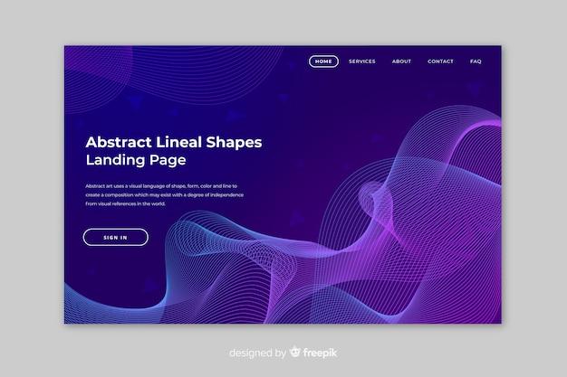 Página de destino de formas lineares abstrata