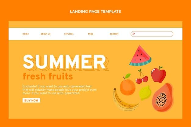 Página de destino de frutas planas saudáveis
