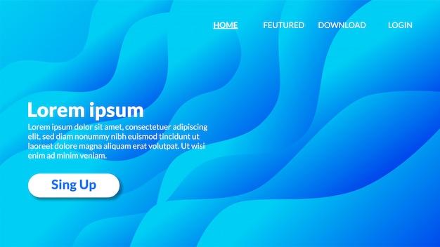 Página de destino de gradiente de fundo azul ondulado moderno