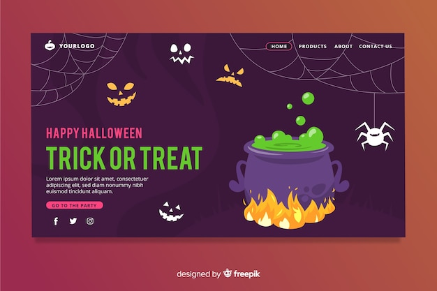 Página de destino de halloween de design plano