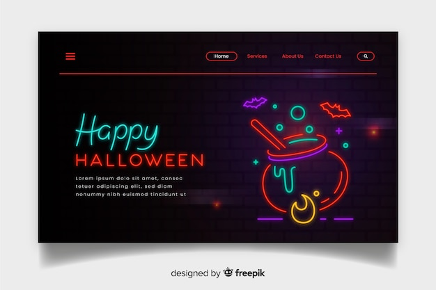Página de destino de halloween de néon com caldeirão