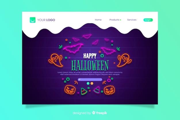 Página de destino de halloween de néon