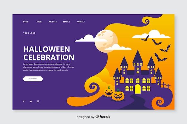 Página de destino de halloween em design plano